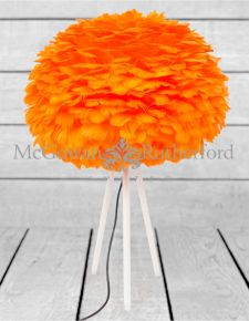Matt White Tripod Table Lamp with Orange Goose Feather Shade