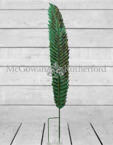 Small Antiqued Green Garden Stake Feather