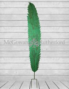 Large Antiqued Green Garden Stake Feather