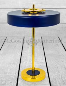 Gold and Matt Blue Retro Desk/Table Lamp (G9 LED bulbs included)