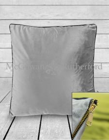 Large Silver Velvet Cushion with Gold Zip Detail
