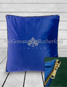 Large Royal Blue Velvet Cushion with Gold Zip Detail