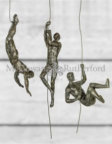 Set of 3 Antique Silver Abseiling Men Wall Figures