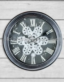 Antique Black and Silver/Grey Moving Gears Wall Clock