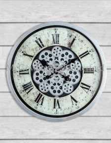 Antique Grey Large Moving Gears Wall Clock