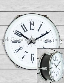 "Black 15"" Drum Wall Clock"