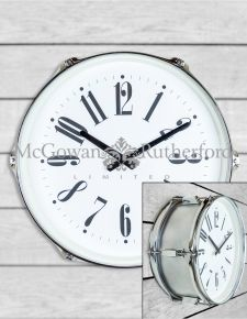 "Silver 15"" Drum Wall Clock"