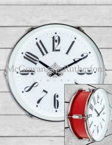 "Red 17"" Drum Wall Clock"
