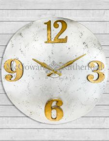Extra Large Industrial Steel Clock with Gold Numerals *CLEARANCE ITEM*