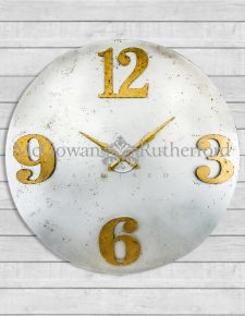 Large Industrial Steel Clock with Gold Numerals