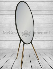 Antiqued Iron Oval Dressing Mirror on Wooden Legs