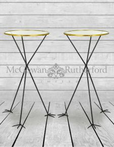 Pair of Round Glass Top Tables on Bird Feet Legs