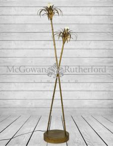 Antiqued Gold Iron Palm Tree Floor Lamp