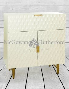 White with Gold Soho Side Cabinet