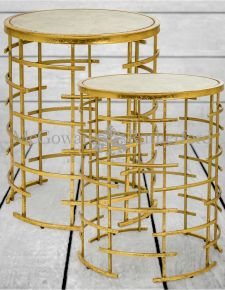 Gold Leaf Metal with Brown Marble Set of 2 Side Tables