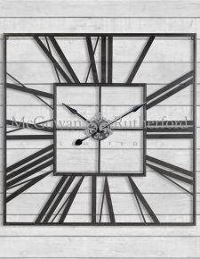 Large Square Black Skeleton Clock
