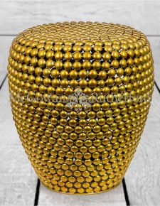 Antiqued Brass Ball Bearing Stool/Side Table