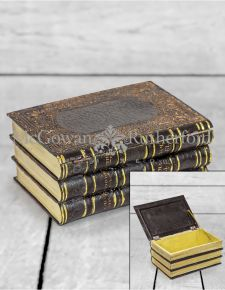Antiqued Black Leather Style Book Storage Box