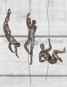 Set of 3 Antique Copper/Gold Abseiling Men Wall Figures