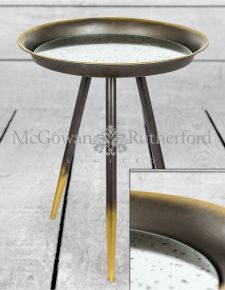 Iron and Antiqued Glass Small Side Table