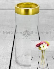 Medium Glass Vase with Brass Rim