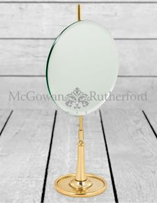 Round Table Mirror on Brass Stand