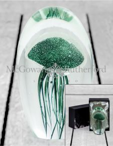 Large Fern Green Jellyfish Glass Paperweight with Gift Box