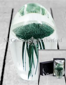 Fern Green Jellyfish Glass Paperweight with Gift Box