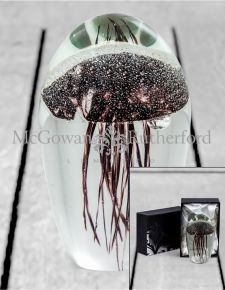 Purple Jellyfish Glass Paperweight with Gift Box