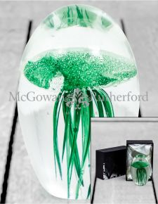 Green Jellyfish Glass Paperweight with Gift Box