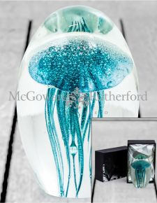 Blue Jellyfish Glass Paperweight with Gift Box