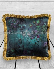 Boho Floral Velvet Cushion with Gold Fringe Detail