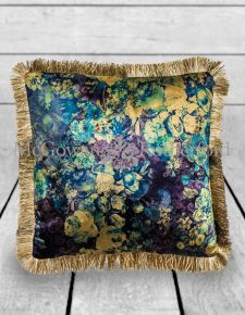 Boho Floral Velvet Cushion with Champagne Fringe Detail