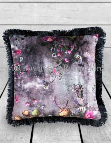 Boho Floral Velvet Cushion with Black Fringe Detail