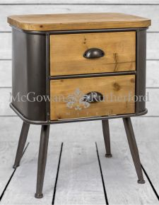 Shoreditch Metal and Wood 2 Drawer Cabinet