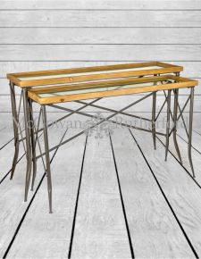 Shoreditch Metal and Wood Set of 2 Console Tables