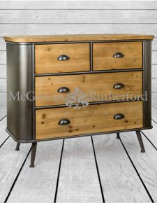 Shoreditch Metal and Wood 2 Over 2 Chest of Drawers