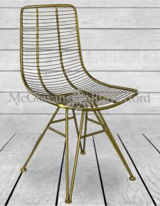 Antique Gold Metal Industrial Style Chair