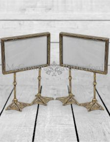 "Pair of Antique Silver/Pewter 5x7"" Duck Feet Landscape Photo Frames"