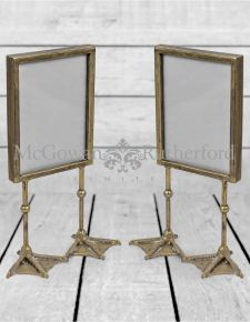 "Pair of Antique Silver/Pewter 5x7"" Duck Feet Portrait Photo Frames"