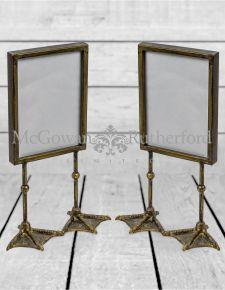 "Pair of Antique Gold/Bronze 5x7"" Duck Feet Portrait Photo Frames"