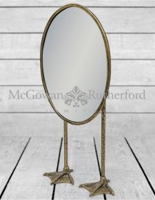 Antique Silver/Pewter Oval Tall Duck Feet Table Mirror