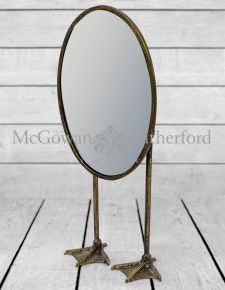 Antique Gold/Bronze Oval Tall Duck Feet Table Mirror