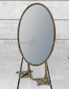 Antique Silver/Pewter Oval Short Duck Feet Table Mirror
