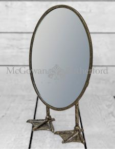 Antique Gold/Bronze Oval Short Duck Feet Table Mirror