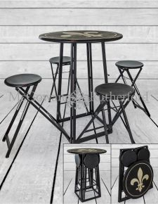 Antiqued Metal Folding 4 Seat Bar Table