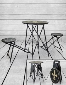Antiqued Metal Folding 2 Seat Bar Table