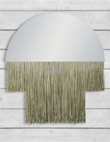 Small Boho Mirror with Gold Fringe