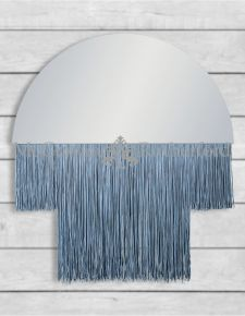 Small Boho Mirror with Silver Fringe  *CLEARANCE ITEM*