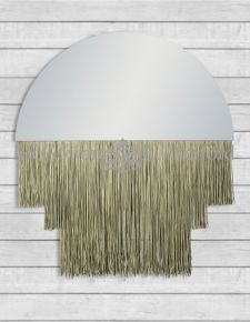 Large Boho Mirror with Gold Fringe